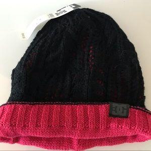 DC Knit Beanie. NWT. Black and Fuchsia Pink.